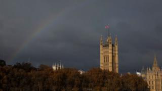 Rainbow behind Westminster