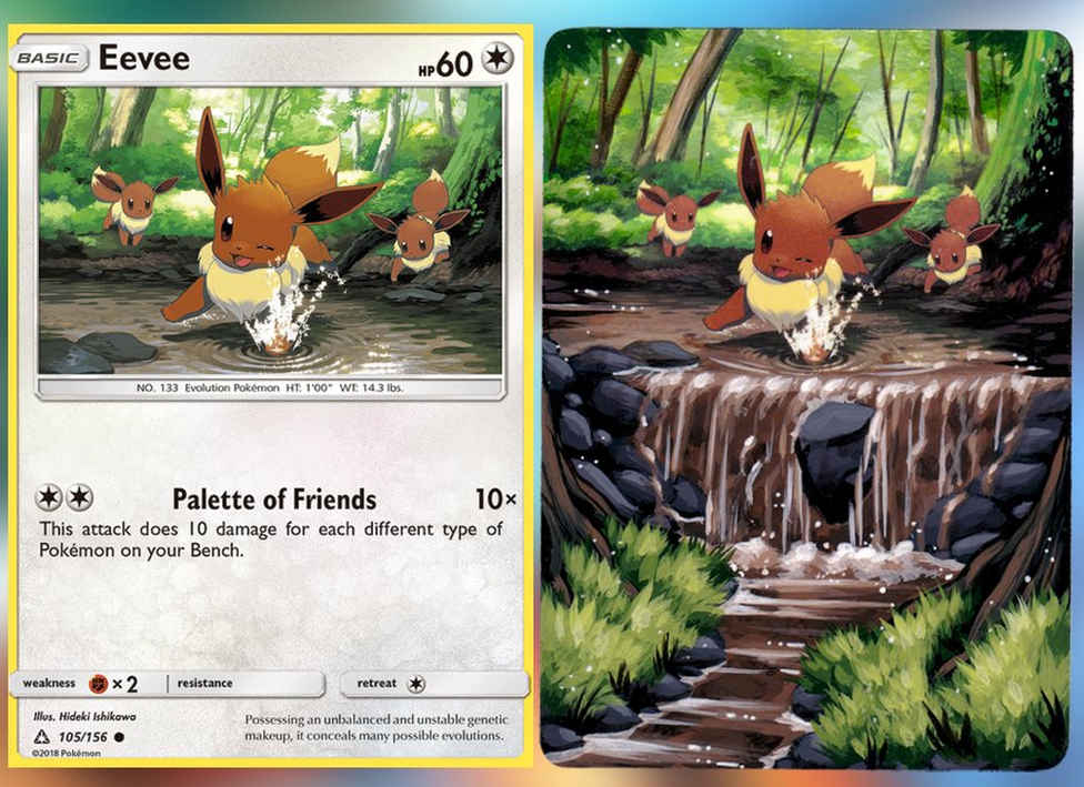An Eevee Pokemon card. The original forest artwork has been extended to show a waterfall.