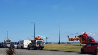 Emergency services at Clacton beach