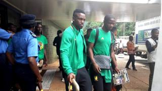 Cameroon players dey leave Younde hotel for Yaounde on Friday afternoon June 21, 2019.