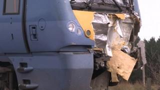 The damaged train