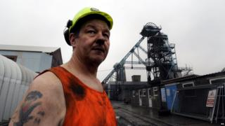 Miner Paul Mountjoy at Hatfield Colliery near Doncaster, following a ceremony to mark the closure of the pit.