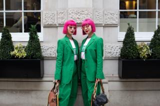 in_pictures Twins Ami and Aya outside Christie's, London