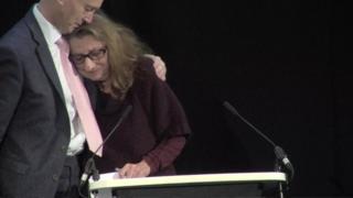 Sir Brian Langstaff hugs Della Hirsch