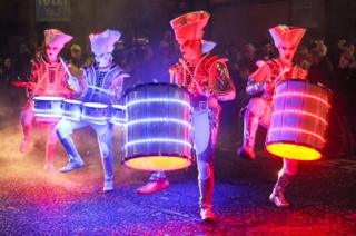 Spark! LED Drummers took part in the Paisley Halloween Festival