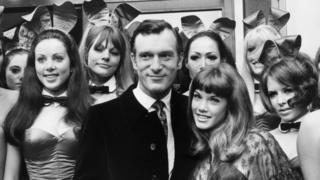 Hugh Hefner with his girl friend Barbi Benton and London Playboy Club bunnies