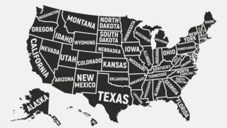 America - Divided into all fifty states and and labelled.