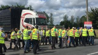 Protest outside a meat processing plant