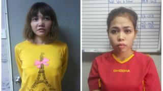 段氏香(左)与茜蒂·艾希亚(右)被捕后拍摄的档案照片(皇家马来西亚警察发放照片19/2/2017)