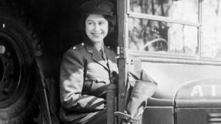 A picture of the Queen at the wheel of an Army vehicle in 1945