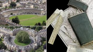 A composite image of the drawing set, and the Royal Crescent and The Circus in Bath