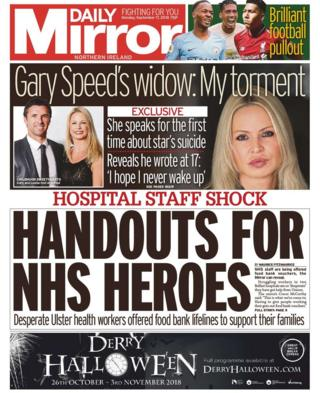 Front page of Daily Mirror, Monday 17 September 2018