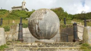 The globe sculpture at Durlston Country Park