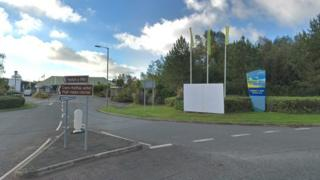 The entrance to Hafan y Mor Holiday Park