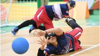 Amanda Dennis of the USA dives to block the ball in the women's Goalball on day four of the Rio 2016 Paralympic Games at Future Arena on 11 September 2016 in Rio de Janeiro, Brazil.