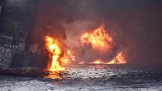 Iranian oil tanker Sanchi is seen engulfed in fire in the East China Sea, in this January 13, 2018 picture provided by Shanghai Maritime Search and Rescue Centre