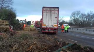 A lorry on the A55