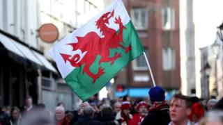 The crowds building before the opening Six Nations match in Cardiff