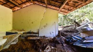 House struck by the mud in Córrego do Feijão near the town of Brumadinho