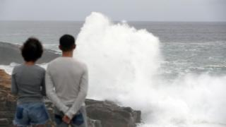 High waves caused by Typhoon Hagibis break on the shores of Senjojiki