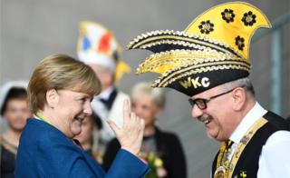 Chancellor Angela Merkel receives German carnival societies at the Chancellery in Berlin, Germany, January 22, 2020