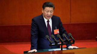 Си выступает с речью перед делегатами 19-го Национального конгресса Компартии Китая в самом начале недельной сесии, 18 октября 2017 года, Дом народных собраний в Пекине.