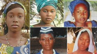 Five of the girls taken from the Chibok school