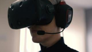 Liz with headset on