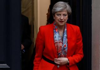 Britain's Prime Minister Theresa May leaves the Conservative Party's Headquarters after Britain's election in London on 9 June, 2017.