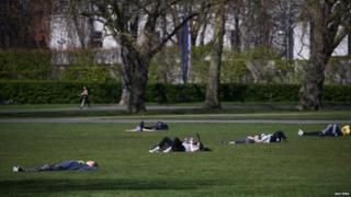 Sunbathers in Greenwich Park
