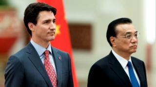El primer ministro de Canadá, Justin Trudeau, y el primer ministro chino, Li Keqiang.