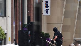 Armed police at the hotel