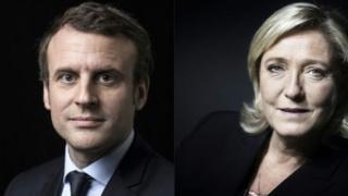 Marine Le Pen na Emmanuel Macron