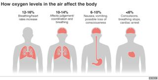 Graphic showing how oxygen levels affect the body