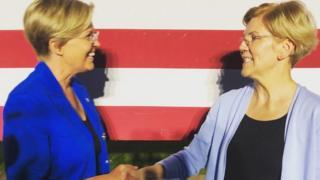 Stephanie Oyen (left) finaly met her doppleganger, US senator Elizabeth Warren