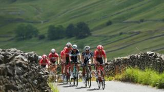Tour de Yorkshire cyclists in the Yorkshire Dales