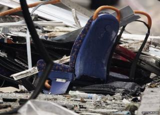 Passenger seats from the bus that was blown up in a suicide bomb attack in Woburn Place near Tavistock Square