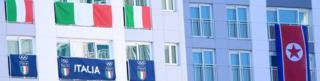 zastave Italije i Severne Koreje