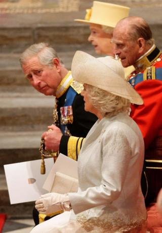 Queen Elizabeth II, the Duke of Edinburgh, the Prince of Wales and the Duchess of Cornwall taking their seats at Westminster Abbey