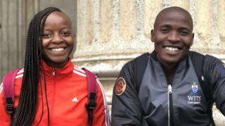 Kgomotso Malatjie (L) and Vuyo Ndata, students at Wits University in Johannesburg