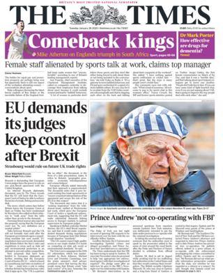 Tuesday's Times front page
