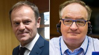 EU's Donald Tusk (left) and Polish rival Jacek Saryusz-Wolski