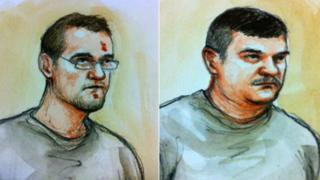 Court sketch of Stephen Beadman and Luke Harlow