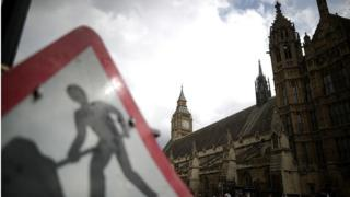 roadwork sign outside parliament