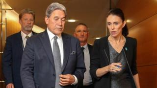 Prime Minister Jacinda Ardern and Deputy Prime Minister Winston Peters arrive at a press conference at Parliament on March 18, 2019 in Wellington