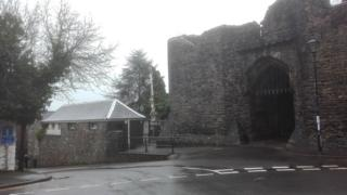 Toilet block next to the Bishop's Castle ruins in Llandaff, Cardiff