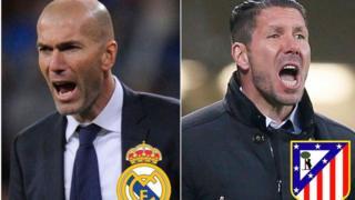 Mkufunzi wa Real Madrid Zinedine Zidanne na mwenzake wa Atletico Diego Simone
