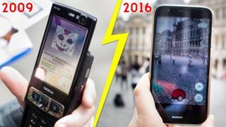 Los dos juegos, en la pantalla de los teléfonos, antes y ahora.