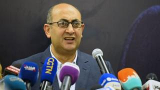 Khaled Ali speaks during a news conference in Cairo, Egypt. Photo: 24 January 2018