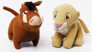 Pumba and Kiara from Walt Disney's 'The Lion King 2: Simba's Pride'. The plush toys were part of McDonald's Happy Meals in 1998.